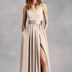 White By Vera Wang V Neck Halter Gown with Sash